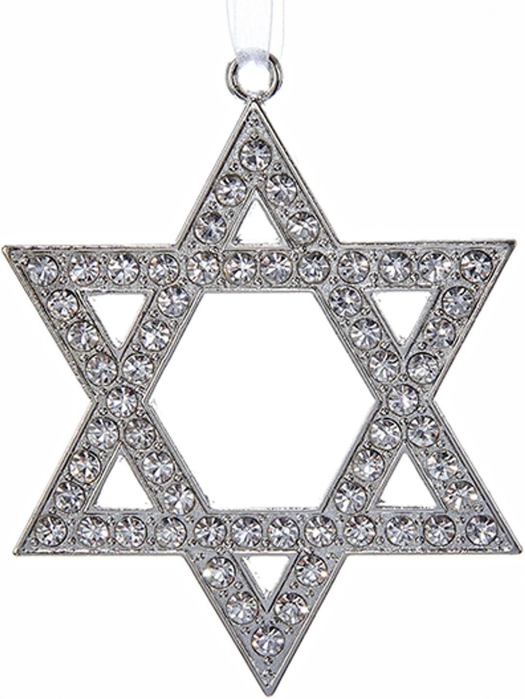 Kurt Adler Silver Metal Star of David Ornament Standard