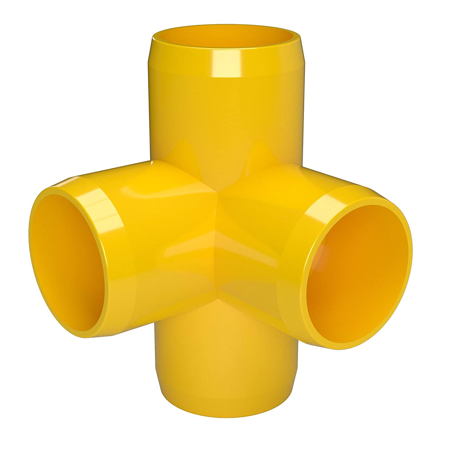1 Size 1 Size Furniture Grade FORMUFIT F0014WT-YE-4 4-Way Tee PVC Fitting Pack of 4 Yellow