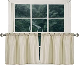 Home Queen Waffle Tier Curtains for Kitchen Window, Waterproof Rod Pocket Bathroom Window Curtain for Small Window, 2 Panels, 36 W X 24 L Inch Each, Solid Taupe