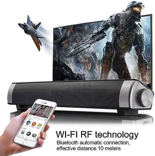 DBGS Barra de Sonido con conexión de Cable y Bluetooth Wireless Home Theater TV de Altavoces estéreo con Control Remoto, Tarjetas TF-Surround SoundBar TV/Celular/Tablet, 2x5W Compacto Barra de Sonido: Amazon.es: Hogar
