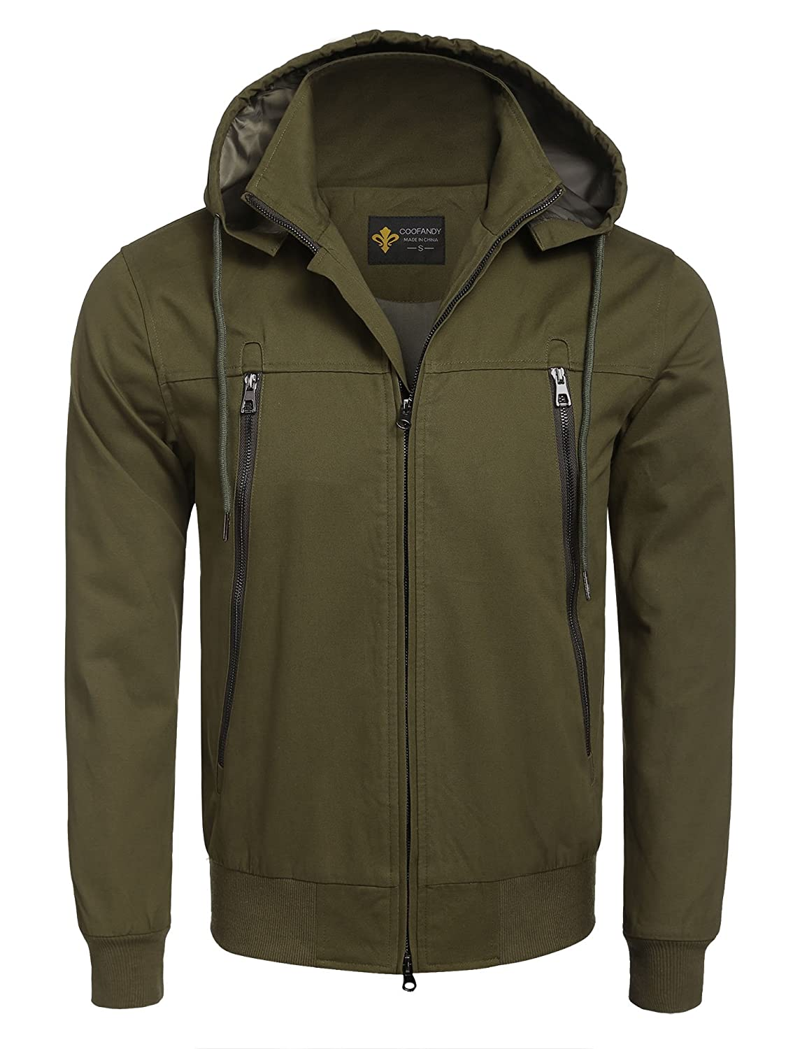 COOFANDY Mens Casual Slim Fit Heavyweight Insulated Zip-up Detachable Hoodies Unisex Jacket Outerwear