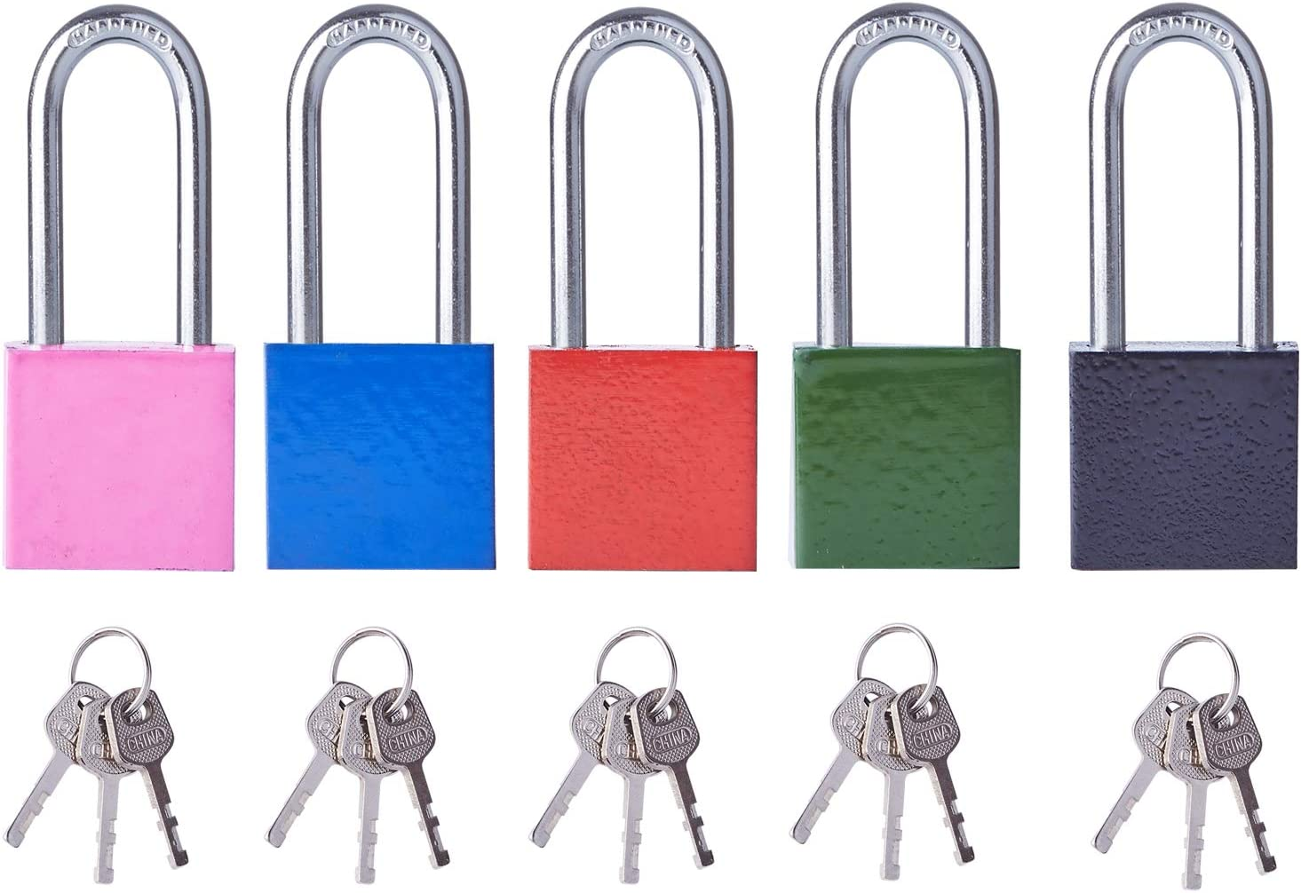 Key Lock (Pack of 5 Colors) 30 mm - Long Shackle Individually Keyed Locks, Padlock with 3 Keys for School & Home Exterior Gates, Sheds, Lockers, Tool Box, Warehouse and More!