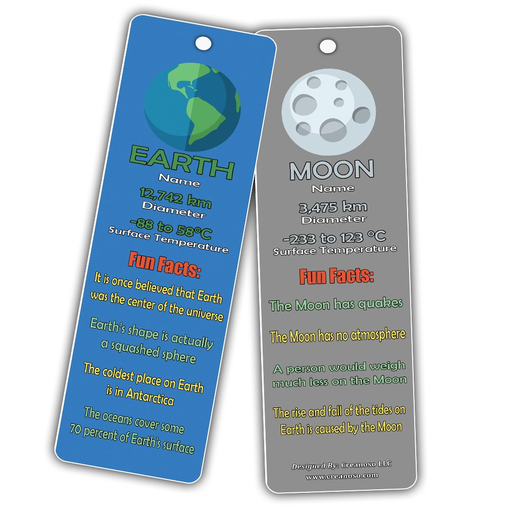 Teacher Classroom Incentive Giveaways - Astronomy Sun Venus Mars Earth Moon Jupiter Saturn Uranus Neptune 60-Pack Outer Space Planets Universe Fun Facts Bookmark Cards Astrophysics Party Favors