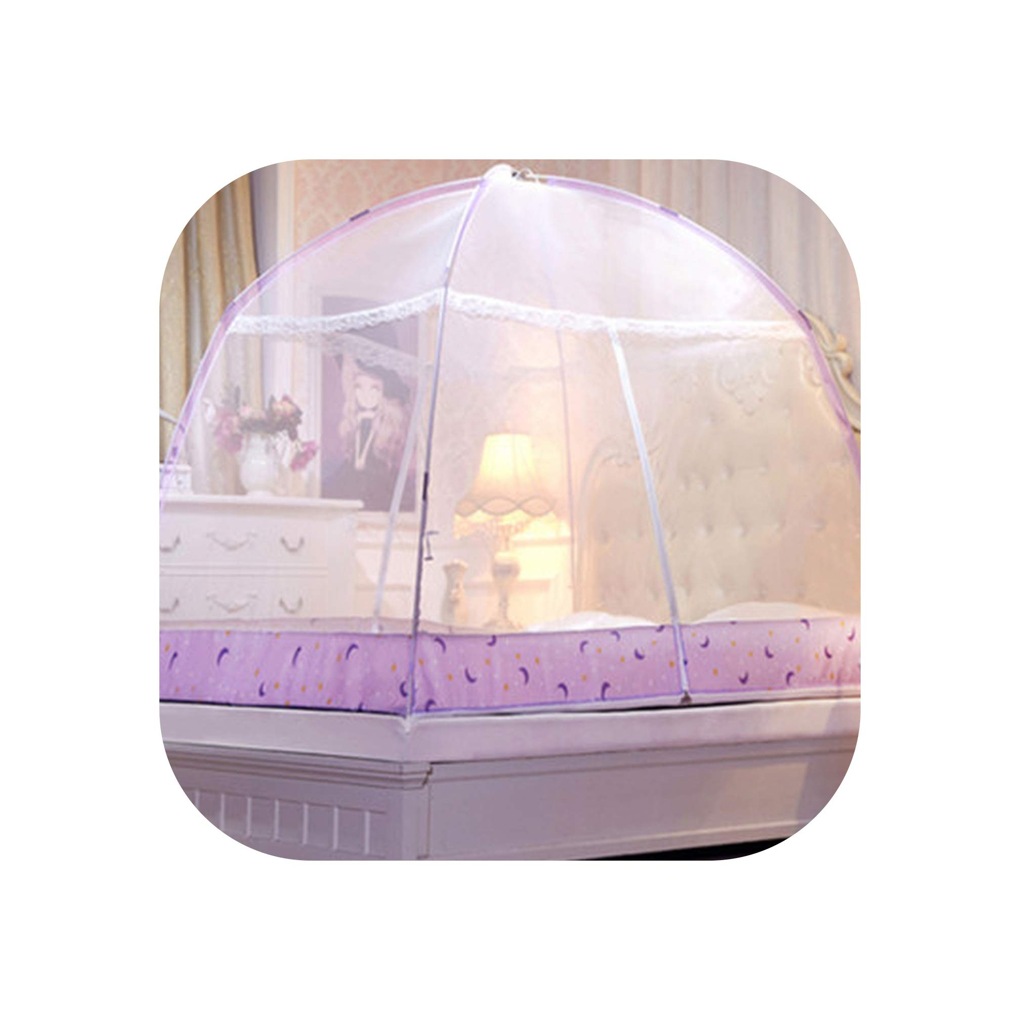 Romantic Purple Dome Mosquito Net Double Door Polyester Fabric Bed Netting Canopy Mosquito Netting Folding Netting Tent Bed,White,1.5m (5 feet) Bed