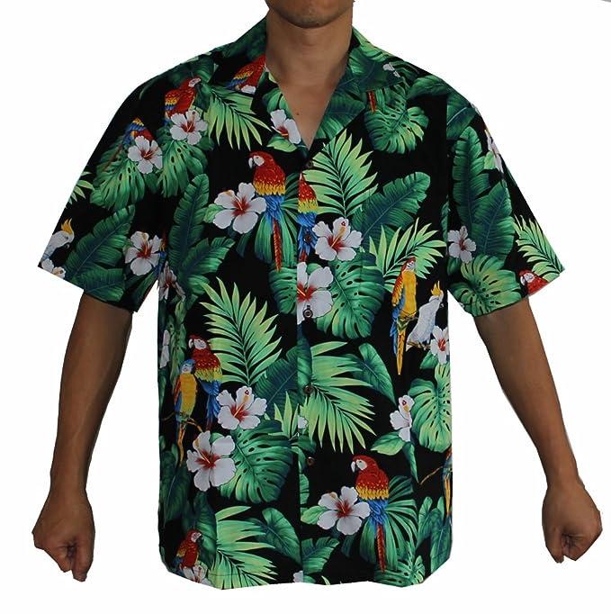 b2175635 Made in Hawaii ! Men's Hibiscus Parrots Hawaiian Luau Cruise Aloha Shirt:  Amazon.ca: Clothing & Accessories