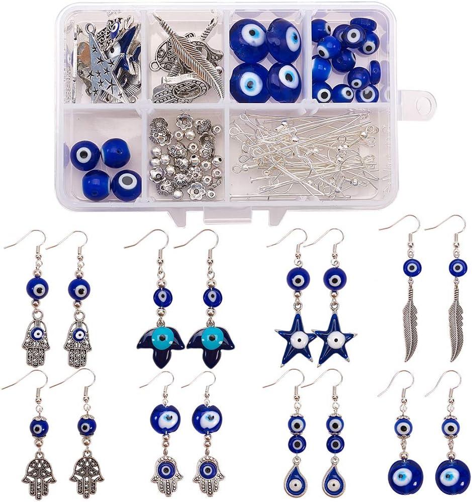 10mm 20pcs//box Handmade Evil Eye Lampwork Beads for Jewelry Making Hole 1mm