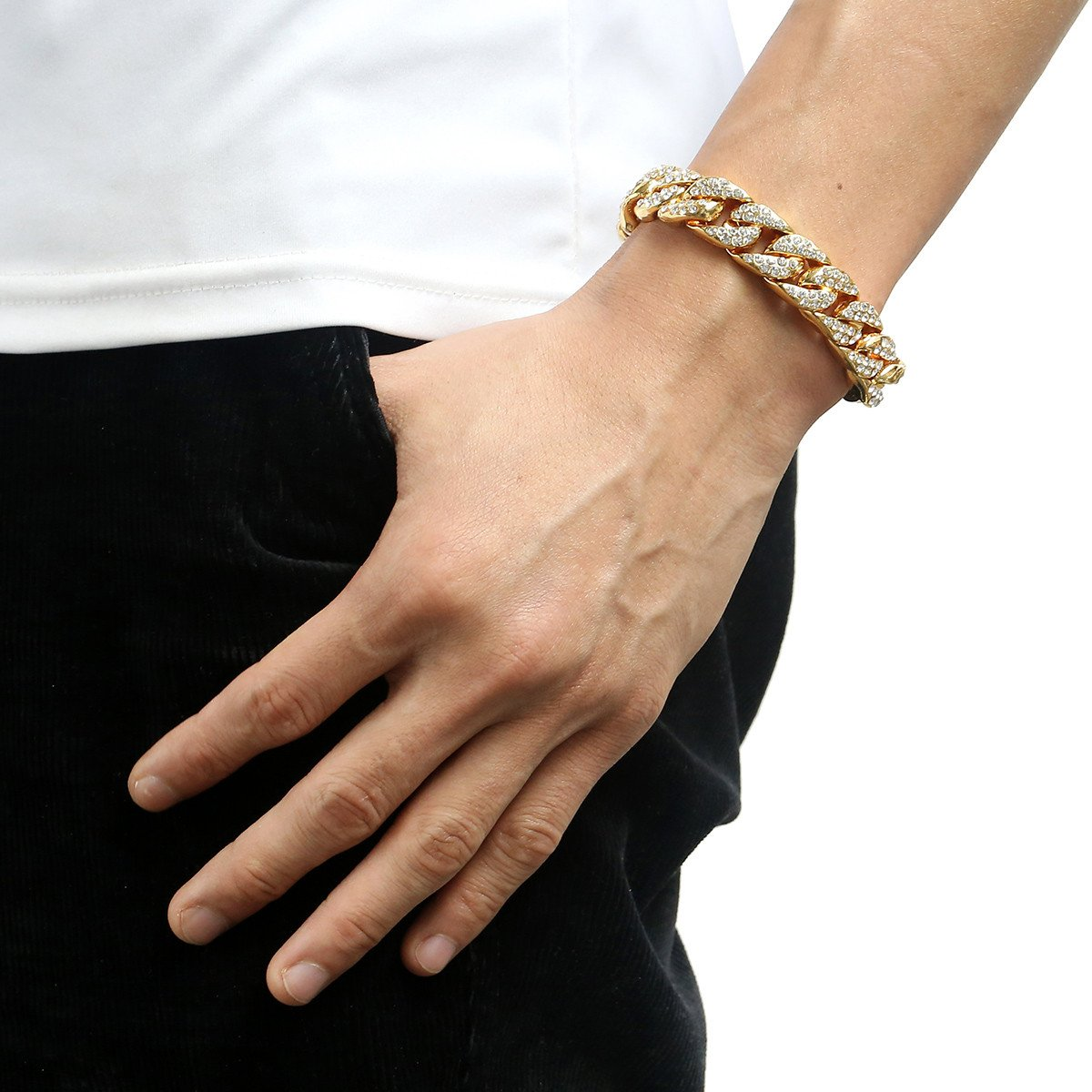 Trendsmax Curb Cuban Verknüpfung Damen Herren Halskette Armband Kette SetWeißes Gold überzogen GF Iced Out Hip Hop Pflastern Strasssteine Bling Schmuck 14mm EURKS239/_820B