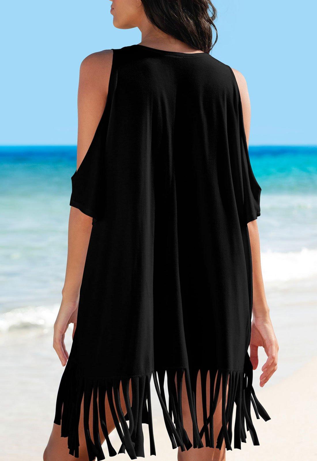 Rainlover Womens Letters Print Baggy Swimwear Bikini Cover-ups Beach Dress (BB-Black) by Rainlover (Image #2)