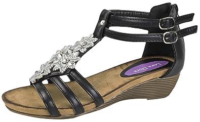 f4a056dc6db5 Lora Dora Womens Diamante Flower Wedge Sandals  Amazon.co.uk  Shoes ...