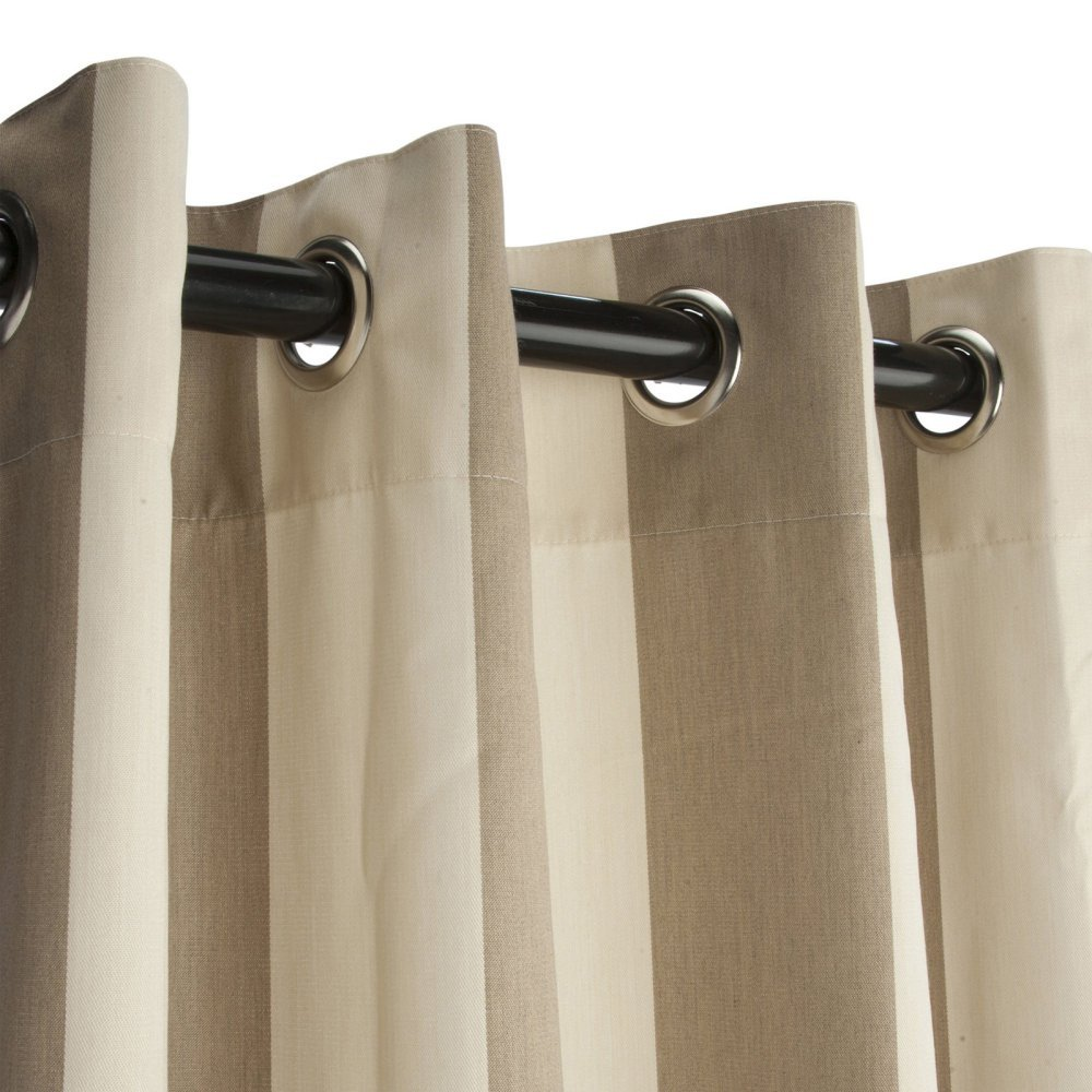 Sunbrella Outdoor Curtain with Grommets-Nickle Grommets-Regency Sand by Sunbrella