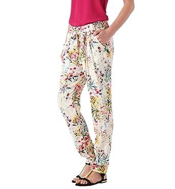 Promod Pantalon Fluide Fleuri Femme Imprime Blanc 44 Amazon Fr