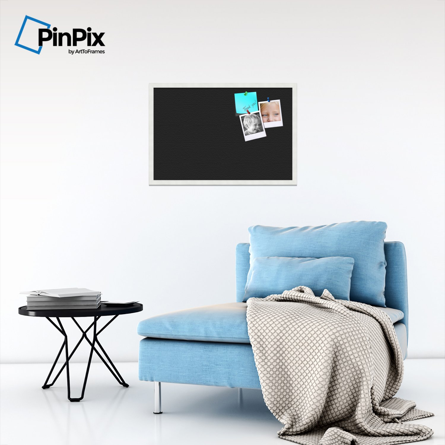 PinPix custom printed pin cork bulletin board made from canvas, Classic Black Pattern 30 x 20 Inches (Completed Size) and framed in Satin White Frame (PinPix-622) by PinPix (Image #4)