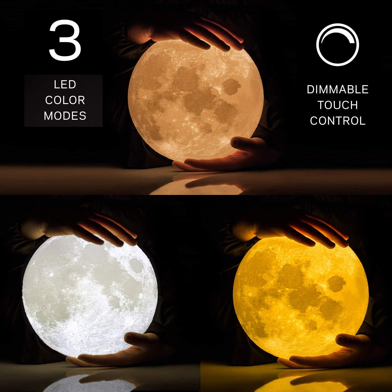 ACED 5 9Inch Luna Moon Lamp Night Light 3D Printed Lunar Moonlight Lamp LED  Dimmable Touch Bedside Table Lamp Rechargeable Baby Lamp for Kid Bedroom