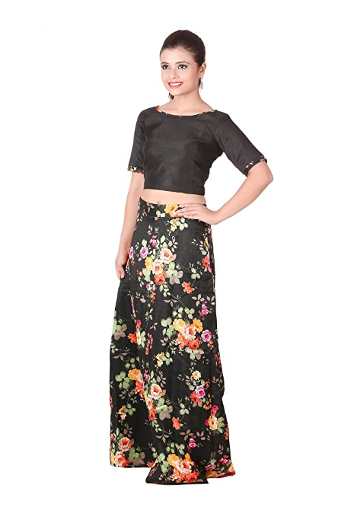 3d440003661 Outdazzle Designer Raw Silk Crop Top with A-Line Printed Skirt - Black:  Amazon.in: Clothing & Accessories
