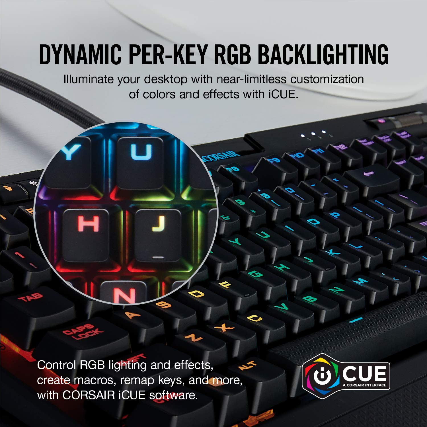Cherry MX Blue Tactile /& Clicky Corsair K70 RGB MK.2 Mechanical Gaming Keyboard USB Passthrough /& Media Controls RGB LED Backlit