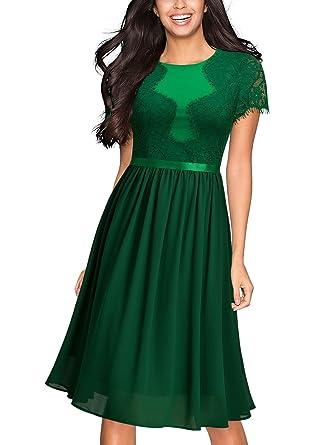 86fcd98dd14 Miusol Women s Vintage Floral Lace Chiffon Slim 1920 s Evening Party  Dress