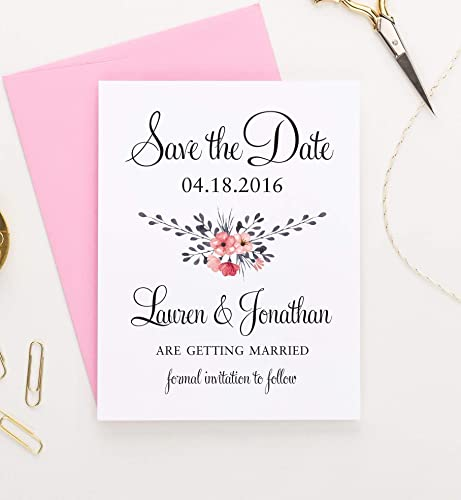 Party Supplies Pink White Personalised Wedding Stationery Save The Date Cards