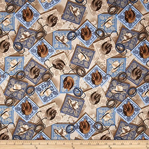 Benartex Kanvas Wild Wild West Bandana Hats Tan Fabric by The Yard, Tan ()
