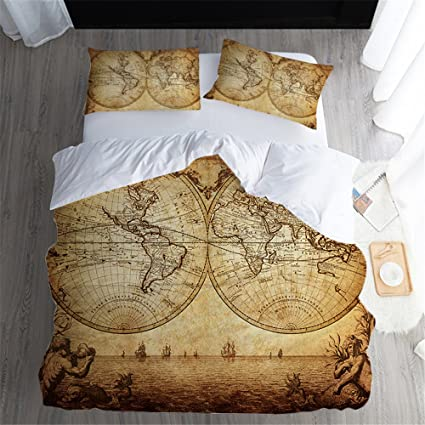 Amazon.com: FEYART Vintage World Map Quilt Cover and ...