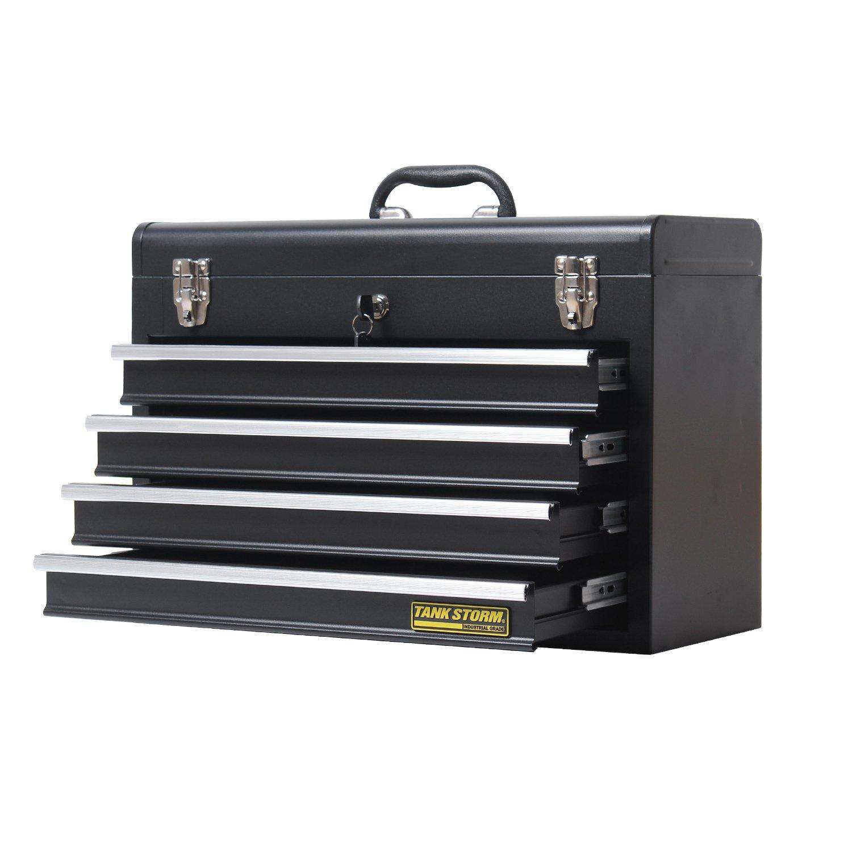 TANKSTORM Portable Steel Tool Chest with Drawers,20.6'' 4-Drawer Box Storage Organizer Cabinet Metal Toolbox,Black(X4) by TANKSTORM (Image #3)