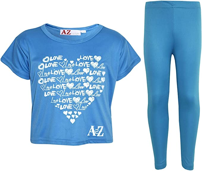 A2Z 4 Kids/® Girls Top Kids Heart Print Trendy Crop Tops /& Fashion Legging Set New Age 5 6 7 8 9 10 11 12 Years