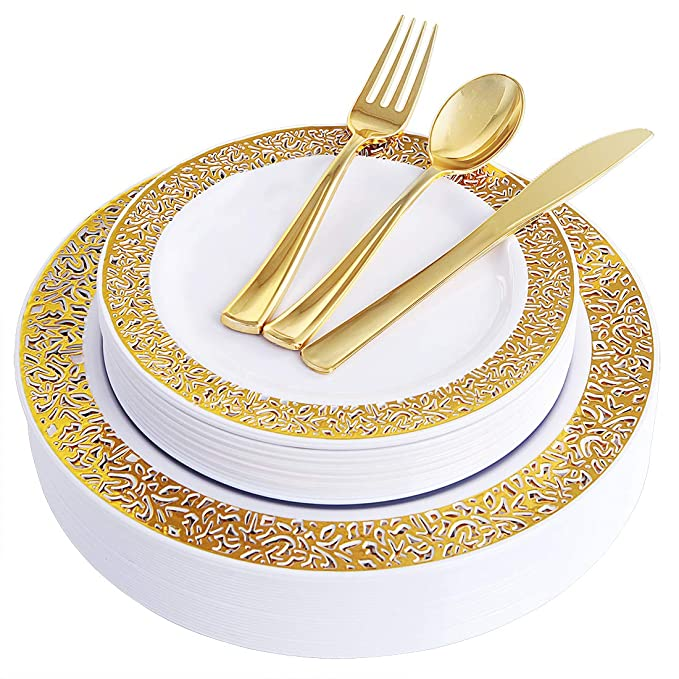 """100 Piece Gold Plastic Plates with Disposable Silverware, Elegant Lace Dinnerware Set Service for 20 People Includes : 20 Dinner Plates 10.25"""", 20 Dessert Plates 7.5"""", 20 Forks, 20 Knives, 20 Spoons"""