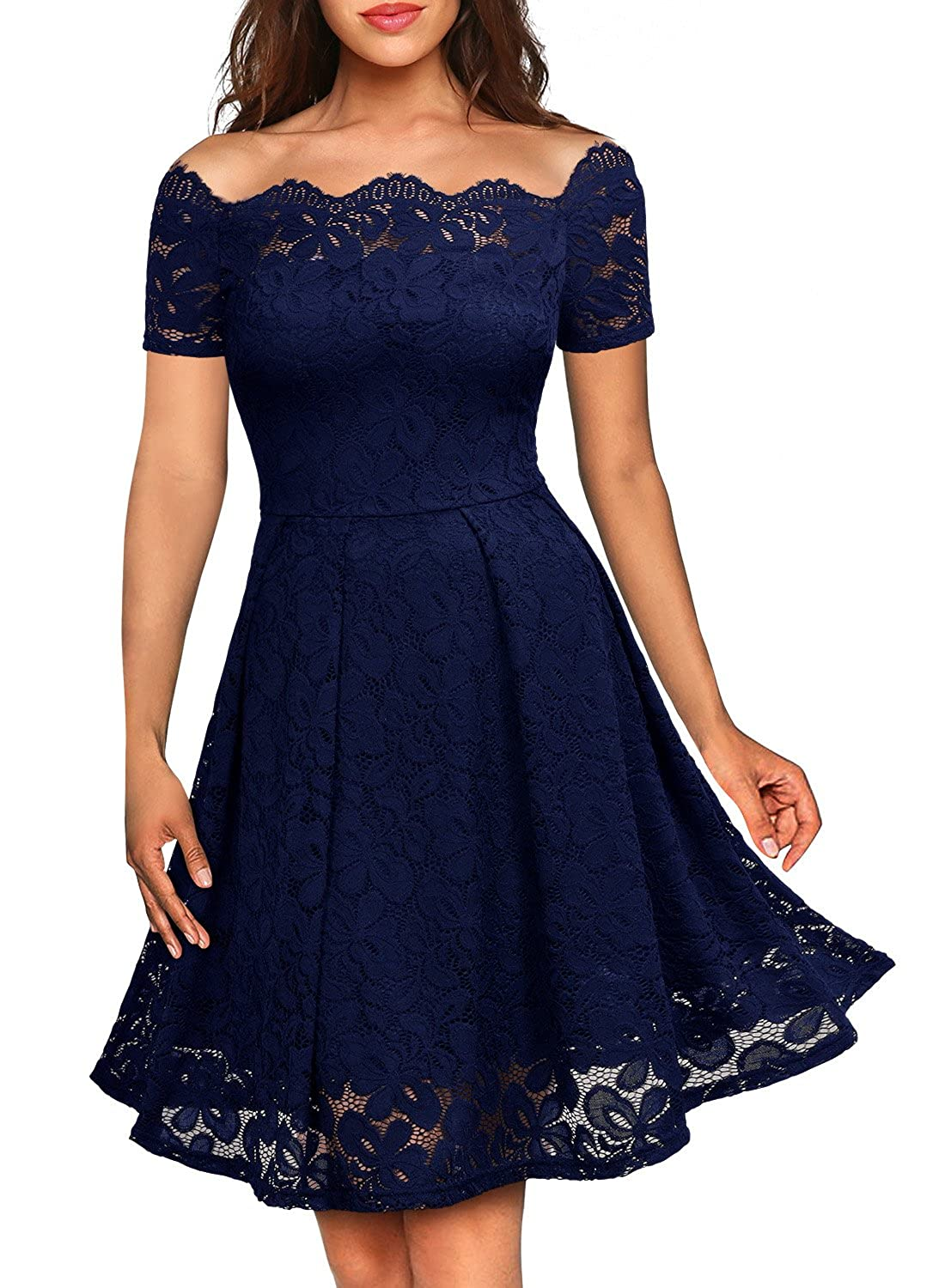 9b27598a95 Amazon.com  MISSMAY Women s Vintage Floral Lace Boat Neck Cocktail Formal  Swing Dress  Clothing