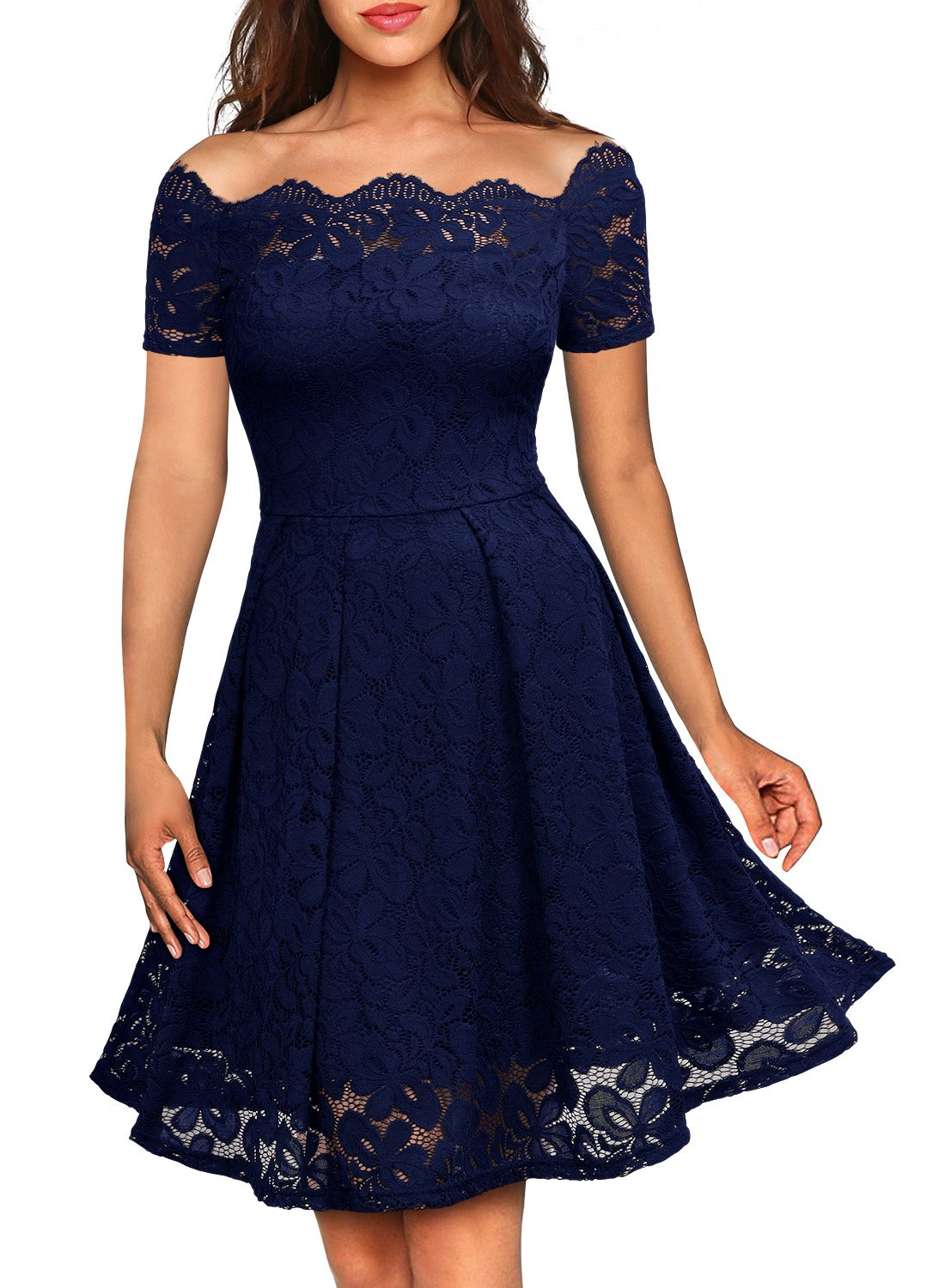 MissMay Women's Vintage Floral Lace Short Sleeve Boat Neck Cocktail Formal Swing Dress (Small,E-Navy Blue Short Sleeve)