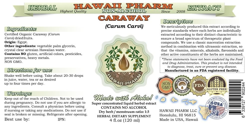 Caraway Alcohol-FREE Liquid Extract, Organic Caraway (Carum carvi) Dried Fruit Glycerite 4x4 oz by HawaiiPharm (Image #2)