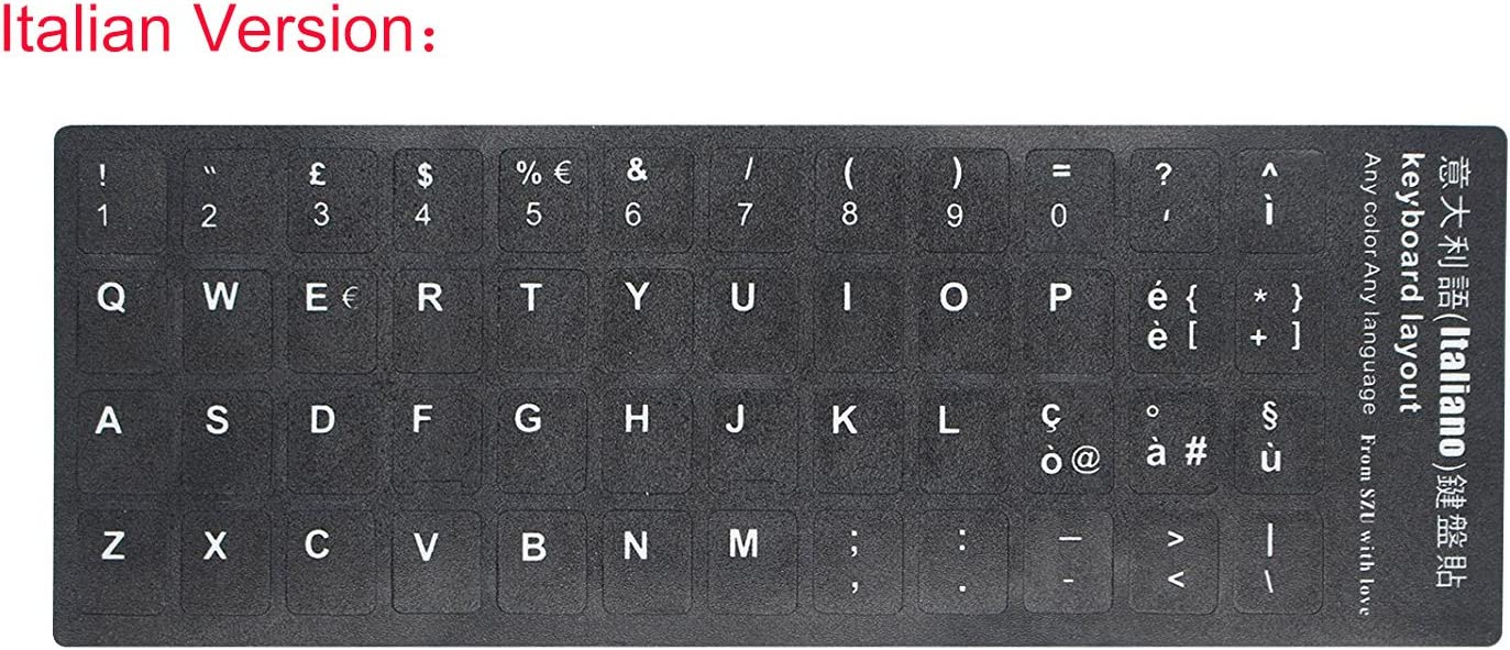"""2 PCS Italian Keyboard Stickers with Non-Transparent Black Background & White Letters for PC/Computer/Laptop [Size of Each Key Sticker: 0.43"""" x 0.51""""] (Italian)"""