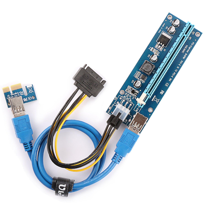 Ubit 4 In 1 Pci E Riser Adapter Board 6 Pin 16x To 1x Powered Usb 30 Express Card Vga W 60cm Extension Cable Sata Power Gpu