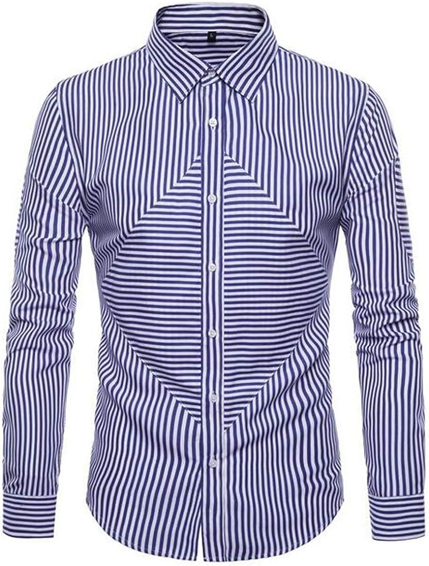 UUYUK Men Casual Stripe Print Slim Fit Long Sleeve Patchwork Button Up Dress Work Shirt