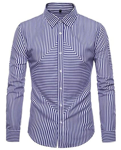 the cheapest lower price with buy good YUELANDE Men Simple Long Sleeve Horizontal Stripes Formal ...