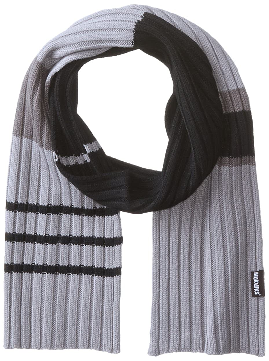 Muk Luks Men's Ribbed Colorblocked Stripe Single Layer Scarf Black/Grey One Size Muk Luks Men's Slippers 0034024