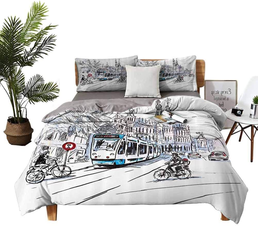 Amazon Com Dragon Vines 4 Bedding Cover Set Satin Sheets Flat Sheet Hand Drawn Tram And Bicyclists Cityscape Of Amsterdam Netherlands Urban Life Blue Lilac White Black White Sheets W68 Xl90 Home
