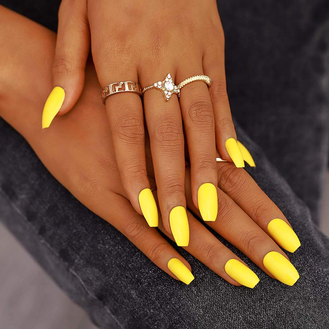 Amazon Com Campsis Glossy Press On Nails Yellow Coffin Fake Nails Long Acrylic Full Cover Clips On Nails For Women And Girls Pack Of 24 Beauty