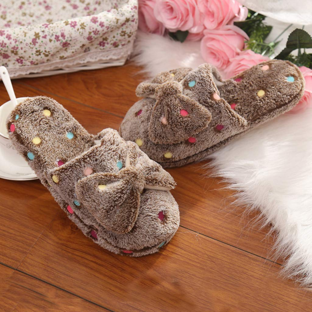 Unisex Cute Soft Sole Bedroom Slippers Beautiful Comfty Bow Cotton Slipper Ladies Winter Warm Non-Slip Home Shoes