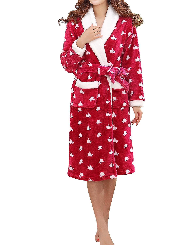 LAPAYA Women's Plush Fleece Soft Printed Kimono Wrap Bath Robe Spa Cozy Warm Robe