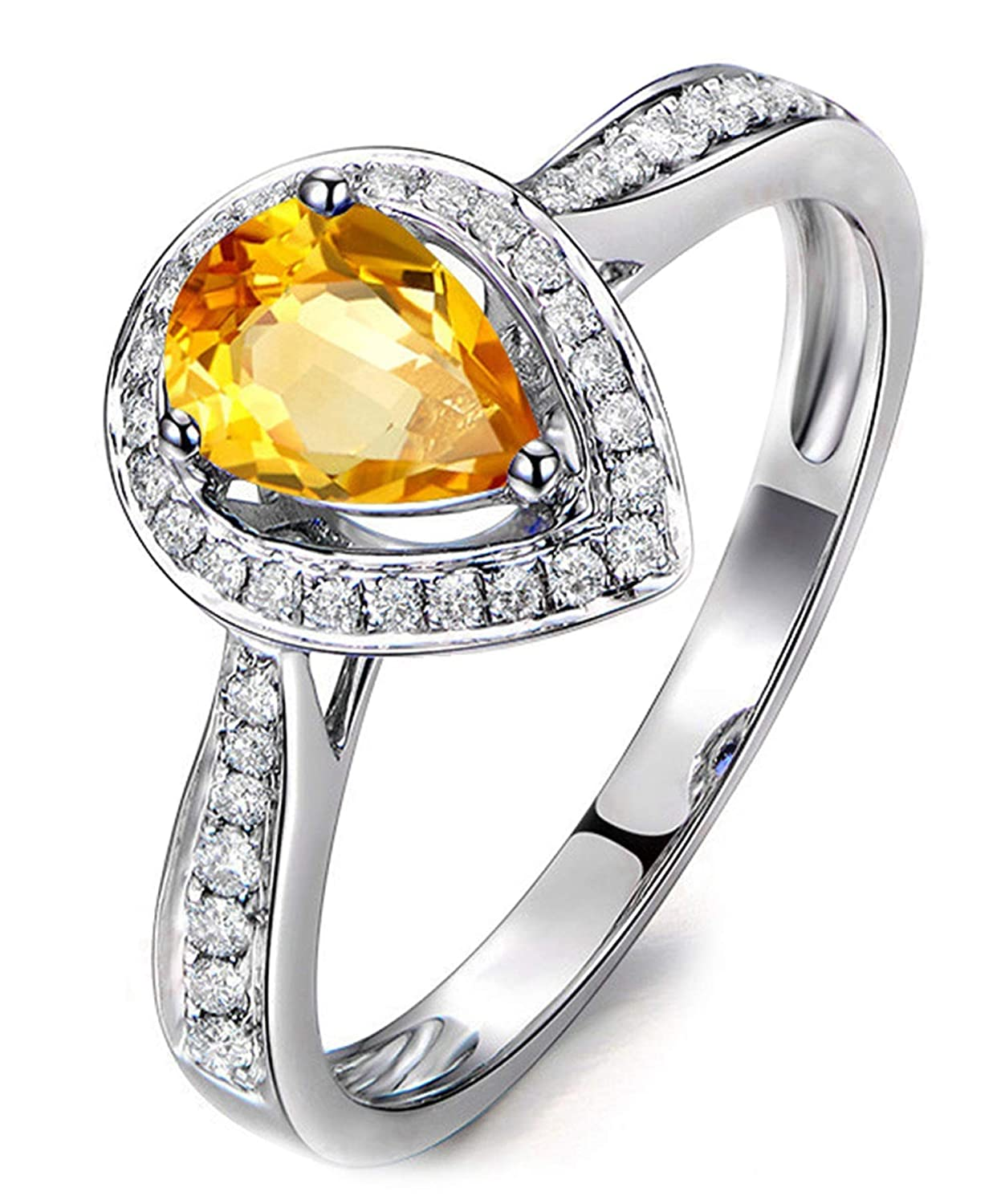 FT-Ring Fashion Charming Yellow Zircon Rings Silver Color Rings Jewelry For Women Wedding Rings