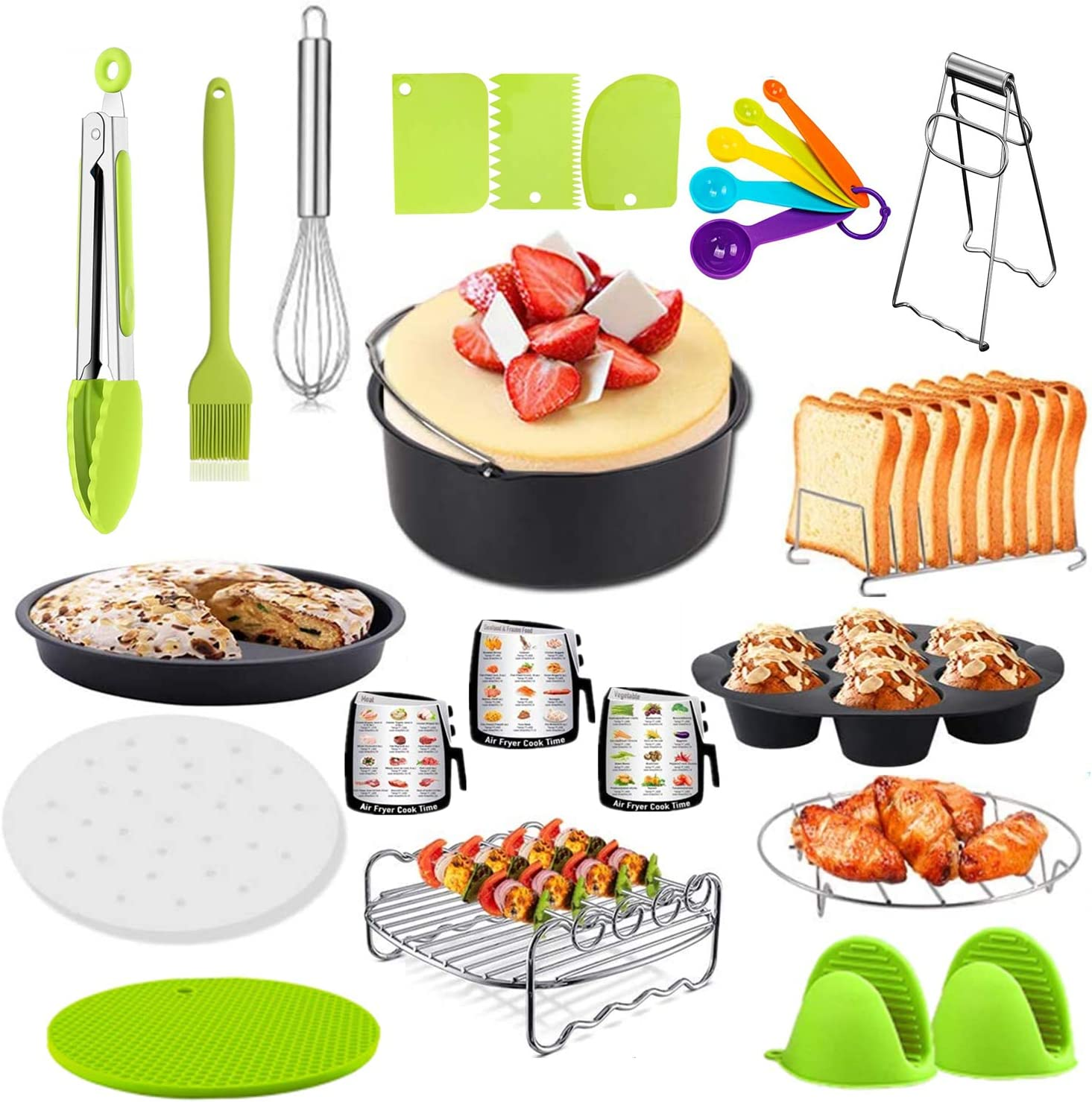 23 Pcs Air Fryer Accessories for Ninja Gowise Cosori Phillips Cozyna,4.2/5.5/5.8/6.5 QT Deep Fryer Accessory with 7 inch Cake Barrel,Pizza Pan,Recipes Cookbook,Skewers Rack,Bread rack,and more-Green