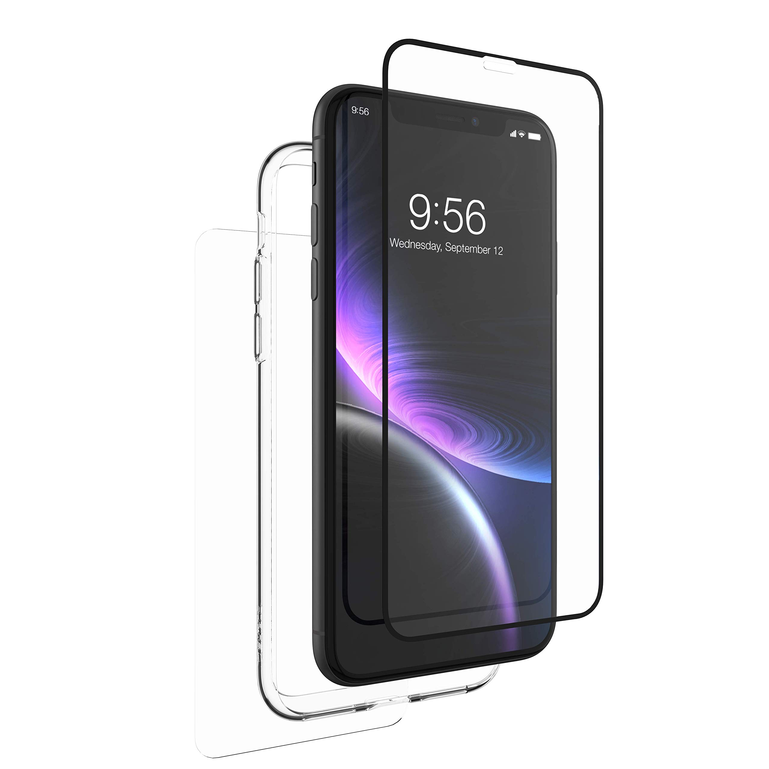 ZAGG InvisibleShield Glass+ 360 - Front + Back Screen Protection with Side Bumpers Made for Apple iPhone XR - Black, Clear