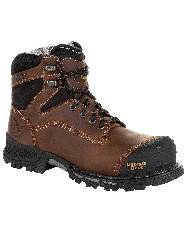 Georgia Mens Boot Rumbler Waterproof Work Soft Toe Black//Brown 12 EE