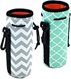 Af-Wan Protable Neoprene Insulated Water Drink Bottle Cooler Carrier Cover Sleeve Tote Bag Pouch Holder Strap(2 Colors) (White+Hot Green)