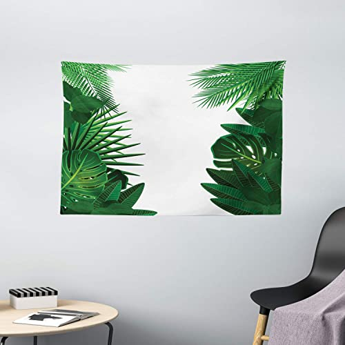 Ambesonne Leaf Tapestry, Exotic Fantasy Hawaiian Tropical Palm Leaves with Floral Graphic Artwork Print, Wide Wall Hanging for Bedroom Living Room Dorm, 60 X 40 , Green White