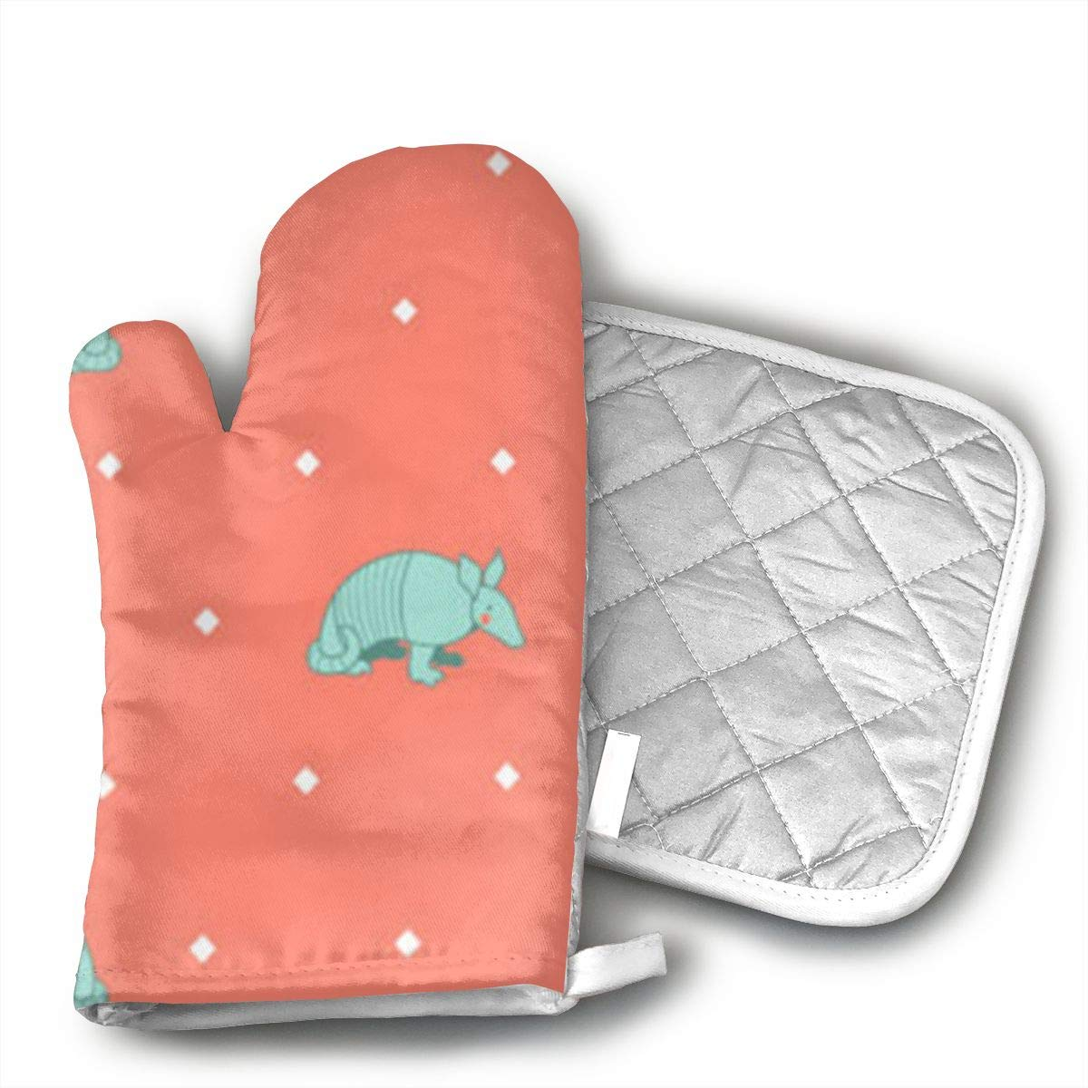 HGUIDHG Southwestern Armadillo On Yellow Oven Mitts+Insulated Square Mat,Heat Resistant Kitchen Gloves Soft Insulated Deep Pockets, Non-Slip Handles