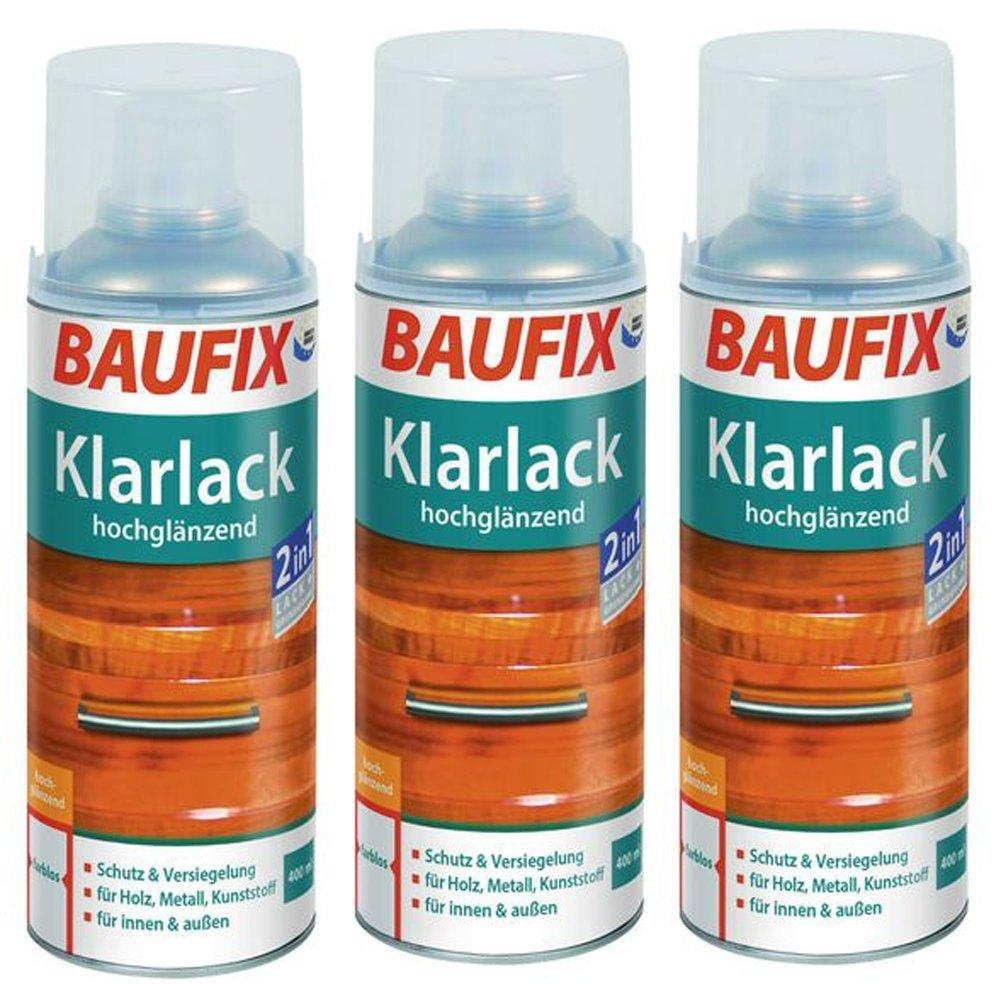 3 x 400ml Klarlack Klar Lack Farblos Baufix Sprü hdose Hochglä nzend oder seidenmatt (seidenmatt) baufix Holz Bautentechnik