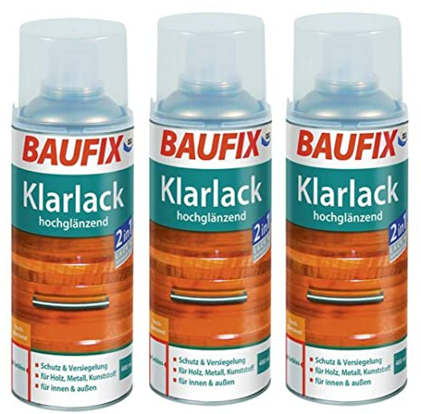 3 X 400ml Klarlack Klar Lack Farblos Baufix Sprühdose Hochglänzend
