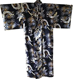 Japanese Mens Yukata Kimono Robe Koi Navy-M K863-N