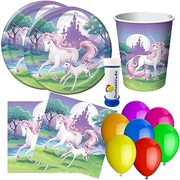 Juego de Fiesta de Unicornio de 73 Piezas. para 16 niños ...