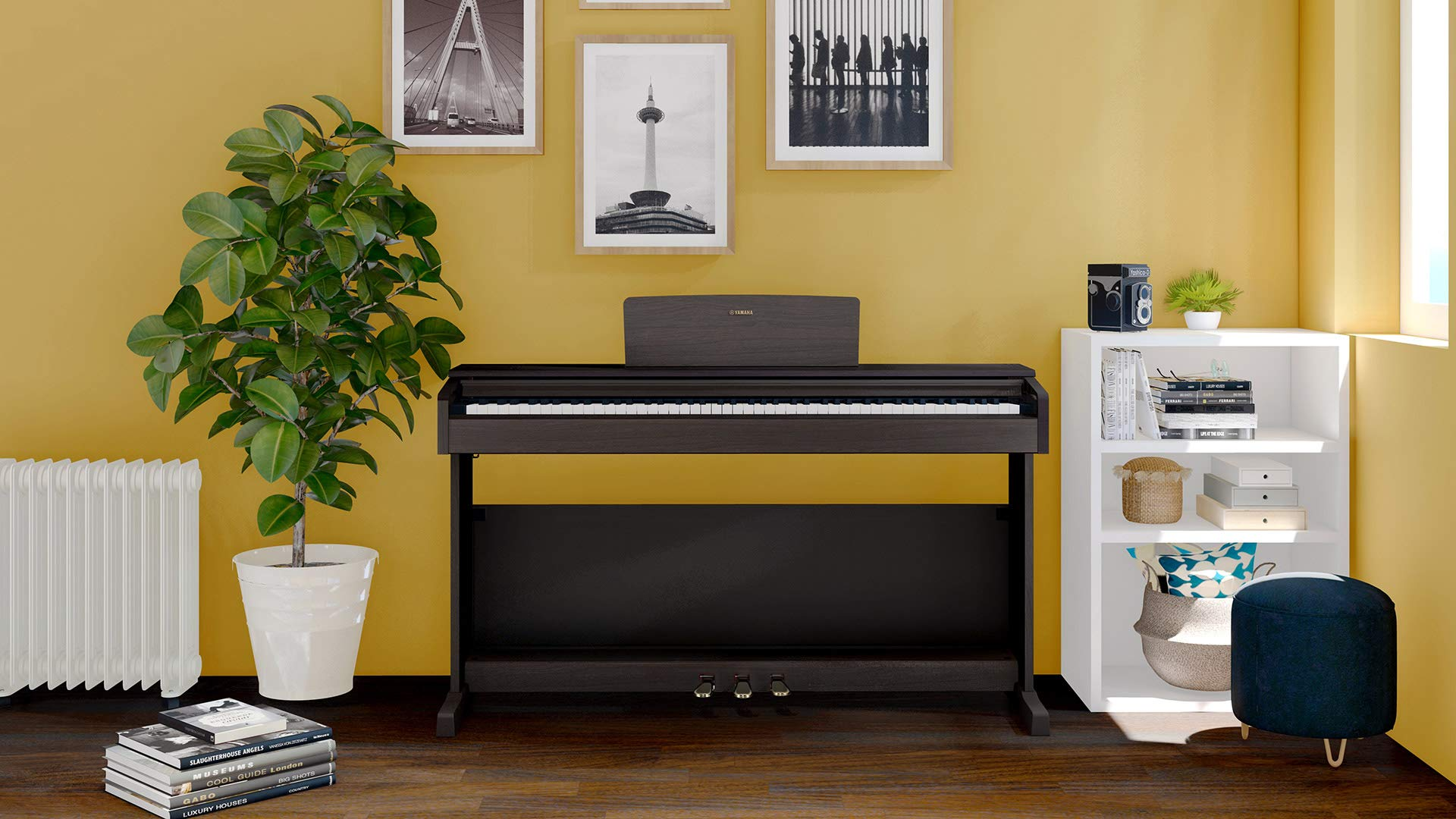 Yamaha Arius YDP-144 Traditional Console Digital Piano - Rosewood Bundle with Furniture Bench, Headphones, Fast Track Music Book, Online Lessons, Austin Bazaar Instructional DVD, and Polishing Cloth by Yamaha (Image #5)